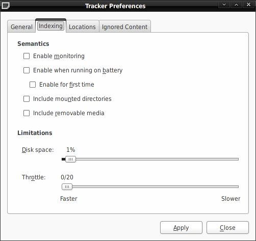 Screenshot: Tracker Preferences